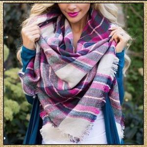 Accessories - 'Berry Kiss' Pink Plaid Blanket Scarf